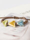 Vintage Ethnic Geometric-shape Beaded Braided Ceramics Wax Rope Bracelets - #08