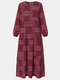 Ethnic Print O-neck Long Sleeve Plus Size Casual Dress for Women - Wine Red