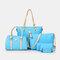 Women 6 PCS Print Large Capacity Handbag Shoulder Bag Tote - Blue