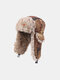 Men Artificial Fur Dacron Camouflage Soviet Badge Thicken Warmth Ear Protection Cold-proof Trapper Hat - #03