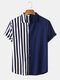 Men Patchwork Stripe Contrast Color Casual Shirt - Blue
