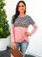 Leopard Striped Print Patchwork O-neck Long Sleeves Casual Tops - Pink