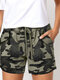 Camou Print Drawstring Elastic Practical Sport Casual Shorts With Pocket - Grey