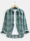 Mens Plaid Lapel Chest Pocket Cotton Long Sleeve Shirts - Green