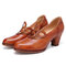 SOCOFY Round Cutout Retro Solid Color Cowhide Leather Elegant Slip On Heels Shoes - Brown