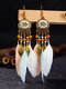 Alloy Vintage Bohemia Round Oil Painting Long Fringed Tassel Feather Earrings - Apricot