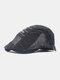 Men Cotton Letter Embroidery Mesh Breathable Adjustable Flat Hat Beret Hat Forward Hat - Black