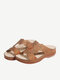 Women Rhinestone Carved Hollow Slippers Comfy Slip On Casual Wedges Sandals - Dark Brown