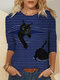 Striped Cat Print Patchwork Long Sleeve Plus Size Blouse - Blue
