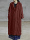 Solid Color Casual Pockets Cotton Long Sleeve Jacket - Wine Red