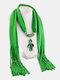 Vintage Women Scarf Necklace Solid Color Leaf Pendant Shawl Necklace - #02