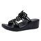 Women Casual Hollow Rhinestone Flowers Peep Toe Wedges Sandals - Black