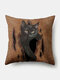 Solid Color Cat Pattern Linen Cushion Cover Home Sofa Art Decor Throw Pillowcase - Brown
