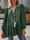 Vintage Ethnic Embroidery V-neck Lace Up Cotton Pleated Blouse - Green