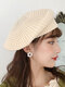 Women Knitted Solid Color Dome Breathable All-match Beret - Beige