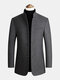 Mens Single-Breasted Woolen Thicken Warm Stand Collar Overcoats With Pockets - Gray