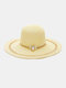 Women Straw Woven Colorful Striped Pearl Decoration Big Brim Sunscreen Breathable Straw Hats - #02