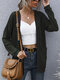 Solid Color Knitted Pocket Long Sleeve Casual Cardigan for Women - Army green
