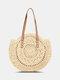 Women Simplicity Stripe Straw Bag Handbags Tote Retro Beach Bag - White