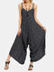 Striped Print Sleeveless Loose V-neck Casual Jumpsuit for Women - Black