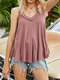 Solid Color V-neck Sleeveless Casual Cami For Women - Pink