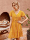 Striped  Print Ruffled Sleeves V-neck Button Casual Dress For Women - Yellow
