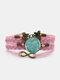 Vintage Plum Blossom Pattern Print Butterfly Braided Gemstone Multi-layer Bracelet - Pink