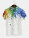 Mens 3D Colorful Abstract Splash-Paint Graffiti Doodle Printed Short Sleeve Shirt - Multi-color