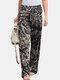Vintage Printed Elastic Waist Straight-Legged Pants For Women - Navy