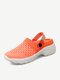Women Brief Casual Solid Color Knitted Mesh Lazy Slip-On Walking Shoes - Orange