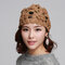 Women Wool Beanie Cap Knitted Lace Hand-knitted Hat Crochet Decoration Hat - Khaki