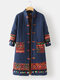 Ethnic Printed Long Sleeve Stand Collar Patchwork Coat For Women - Navy Blue