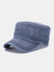 Men Washed Cotton Solid Color Letter Embroidery Casual Sunshade Military Hat Flat Cap - Navy