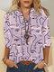 Chemise décontractée à manches longues à imprimé abstrait graffiti pour femme - Rose