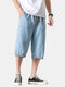 Mens Overalls Cropped Pockets Loose Casual Drawstring Jean Cargo Pants - Light Blue