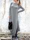 Casual Solid Color Pockets Side Slit Long Sleeve Dress - Grey