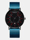 Colored Pointer Men Business Watch Alloy Mesh Band Calendar Quartz Watch - Blue Band Black Surface Red Need