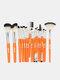 18 Pcs Makeup Brushes Set Eye Shadow Eyebrow Eyelashes Fan-Shaped Eye Makeup Brush - Orange Rod Silver Tube