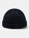 Unisex Acrylic Solid Color Hole Knitted Hat Brimless Beanie Landlord Cap Skull Cap - Black