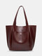 Lightweight Breathable Soft Vintage Large Capacity Magnetic Button Closure Handbag Tote - Coffee