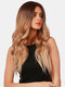 26 Inch Gradient Golden Long Curly Hair Fluffy Breathable High Temperature Fiber Wigs - 26 Inch