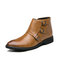 Men Stylish Monk Strap Boots Formal Dress Boots - Brown