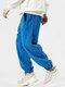 Mens Fleece Solid Color Drawstring Thick Plush Jogger Pants - Blue