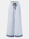Striped Print Drawstring Pocket Lange Freizeithose für Damen - Hellblau