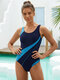 Women Contrasting Colors Patchwork Cut Out One Piece Slimming Swimwear - Blue