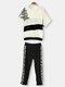Punk Letter Pattern Loose Cotton Sport Suit  Casual Hooded Set - White