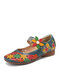 SOCOFY Natural Flowers Hollow Out Cowhide Leather Comfy Breathable Wearable Casual Flat Shoes - Blue