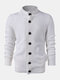 Mens Solid Color Button Up Stand Collar Casual Knitted Cardigan Sweater - White