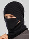 Men 2PCS Embroidered Plus Velvet Thick Winter Outdoor Neck Protection Headgear Scarf Knitted Hat Beanie - Black