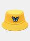 女性と男性Colorfulバタフライパターンアウトドアカジュアルサンシェードバケットハット - 黄